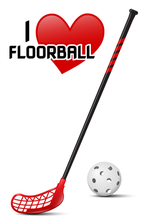 Floorball equipment - realistic vector illustration of ball and stick on white background and heart symbol