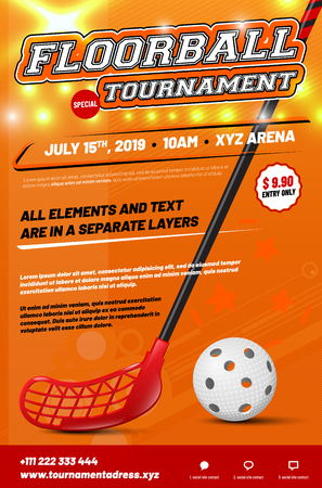 Floorball tournament poster template with stick and ball and sample text in separate layer - vector illustration Ilustrace