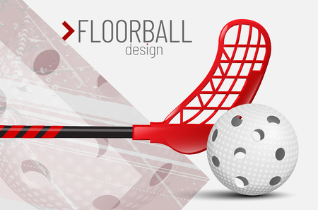 Floorball design card with ball, stick and place for your text - vector illustration.