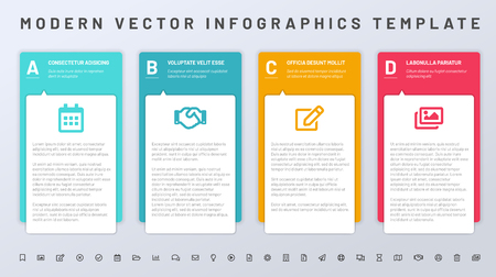 Infographics template with paper frames and set of icons. All elements and sample text are in a separate layers. V.ector illustration Ilustrace