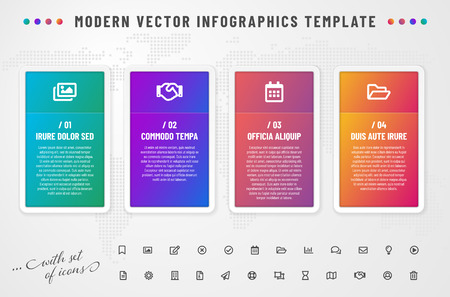 Infographics template with modern gradient frames and icons set. All elements and sample text are in a separate layers. Vector illustration.
