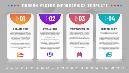 Four options infographics template - frames with reflection and icons set. All elements and sample text are in a separate layers. Vector illustration.