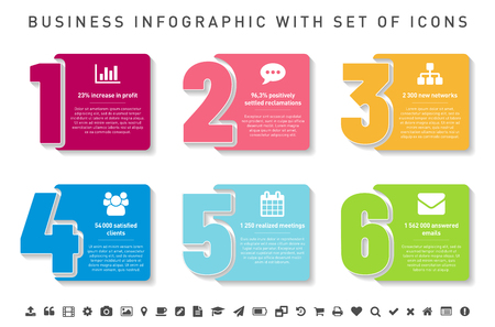 Step by step infographics template with icons and sample text in separate layers. Vector illustration.