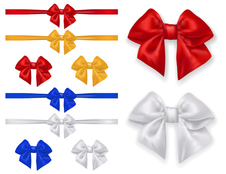 Set of bows and ribbons - isolated on white background. Vector illustration.