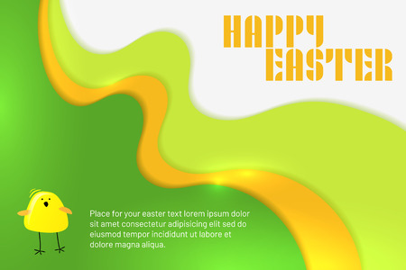 Abstract wavy Happy Easter background with stylized chicken and copy space for your text - vector illustration Ilustrace