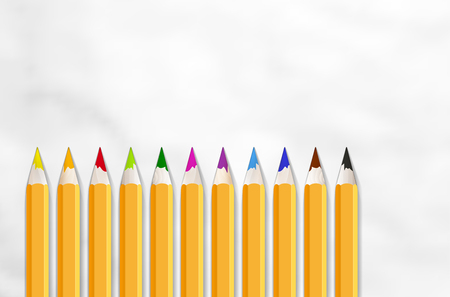 Set of colored wooden crayons on paper with place for your text - vector illustration
