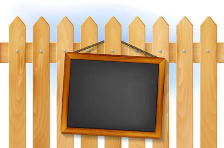 Blank wooden board hangs on wooden fence - place for your text. Vector illustration.
