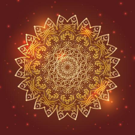 Golden mandala floral circle symbol with shiny lights on red background - vector illustration