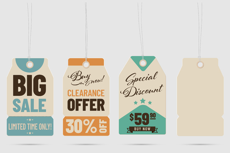 Set of hanging cardboard price tags - template for your shop. Vector illustration.