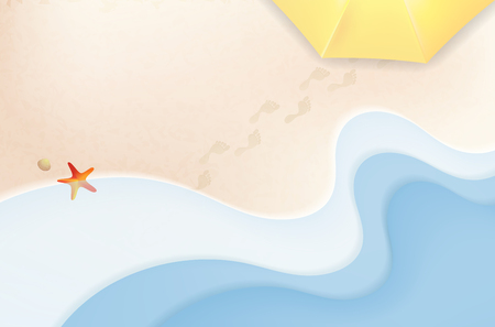 Abstract summer beach with sea waves, footprints in sand, shells and umbrella - vector illustration