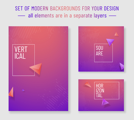 Set of modern backgrounds for your design - vertical, horizontal and square orientation. Vector illustration.