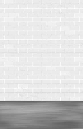 Muro di mattoni grigi e terreno scuro - sfondo sgangherato per il tuo design. Illustrazione vettoriale.