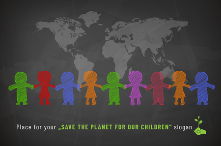 Chalkboard with chalk drawing of childrens characters and world map - Save our planet concept. Vector illustration.
