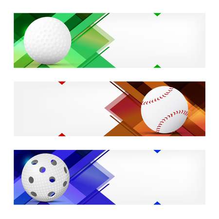 Set of sport banner templates with ball and sample text in separate layer - vector illustration