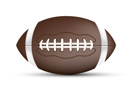 American football ball with shadow isolated on white background - vector illustration