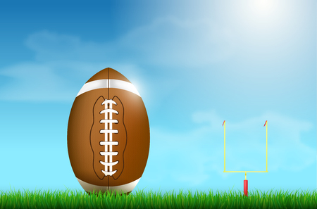 American football ball on grass and goal under blue sunny sky with clouds - vector illustration
