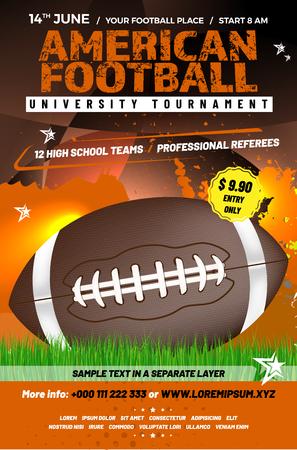 Modèle d'affiche de tournoi de football américain avec ballon, herbe et exemple de texte dans un calque séparé - illustration vectorielle