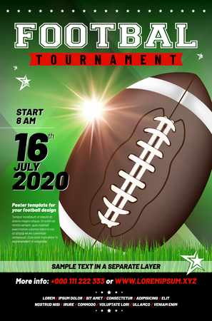 American football tournament poster template with ball, grass and sample text in separate layer - vector illustration