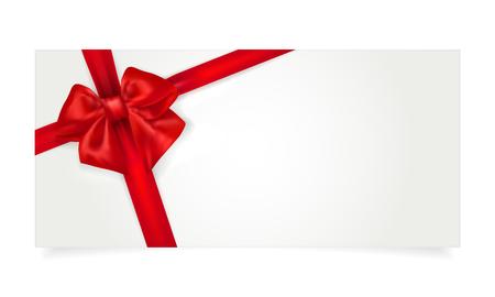 Papiergeschenkgutschein mit roter Schleife und Schatten - isoliert auf weiss. Kopieren Sie Platz für Ihren Text. Vektor-Illustration. Vektorgrafik