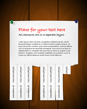 Paper with scraps and pins on wooden background - place for your text. Vector illustration.