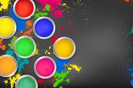 Cans of paint on a dark background with colorful splashes and copy space for your text - vector illustration