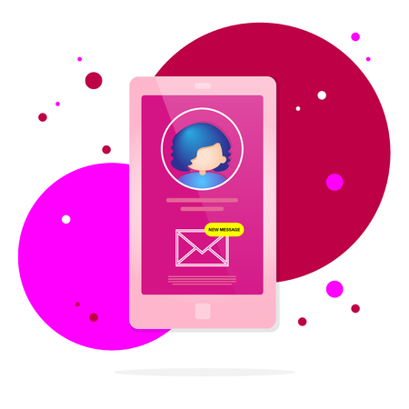 Display of mobile phone with user icon and new mail message - vector illustration