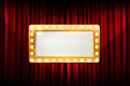 Cadre doré vide avec ampoules sur rideau rouge - place pour votre texte. Illustration vectorielle.