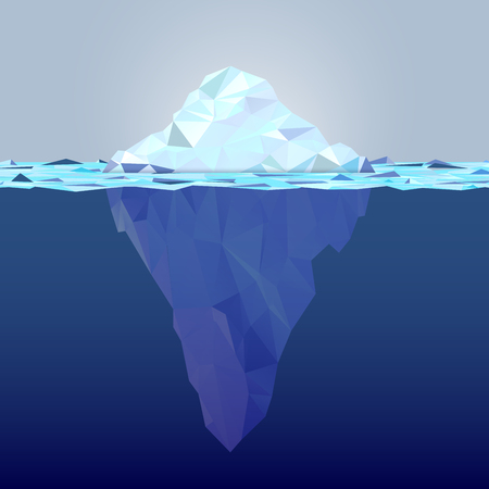 Underwater iceberg made from triangle shapes - global warming concept. Copy space for your text. Vector illustration.