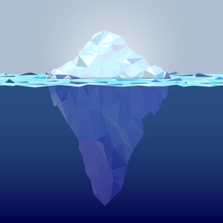 Unterwassereisberg aus Dreiecksformen - Konzept der globalen Erwärmung. Kopieren Sie Platz für Ihren Text. Vektor-Illustration. Vektorgrafik