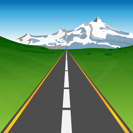 Road between meadows heading to snowy mountains on horizon - abstract landscape under blue sky. Vector illustration.