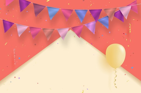 Colorful background with air balloon, flags, confetti and copy space for your text - vector illustration