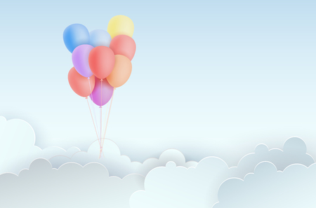 Invitation for party with air balloons, abstract clouds and copy space for your text - vector illustration Stockfoto - 122553215