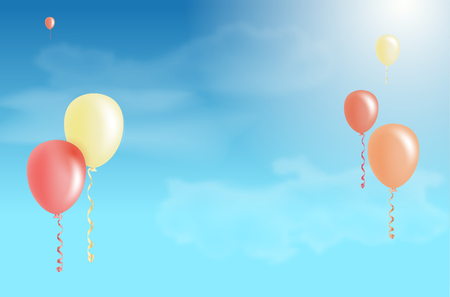 Flying air balloons and blue sky with clouds - copy space for your text - vector illustration