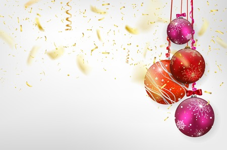 Light background with glossy christmas balls and flying golden confetti - vector illustration