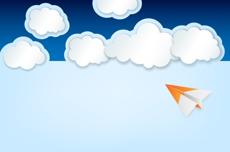 Abstract background with paper plane, clouds and blue sky - vector illustration Illusztráció
