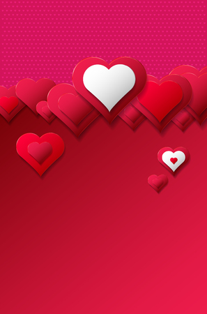 Abstract hearts on red and pink background with copy space for your text. Vector illustration. Ilustração Vetorial