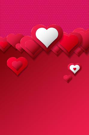 Cuori astratti su sfondo rosso e rosa con copia spazio per il testo. Illustrazione vettoriale. Vettoriali