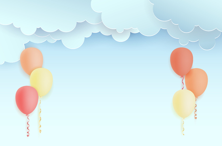 Invitation for party with flying air balloons, abstract clouds and copy space for your text - vector illustration