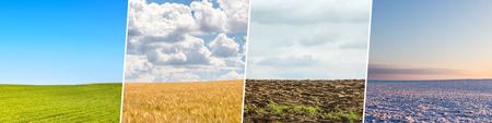 Collage aus vier Jahreszeiten aus Aufnahmen mit Feldern und Himmeln. Alle verwendeten Fotos gehören mir. Standard-Bild
