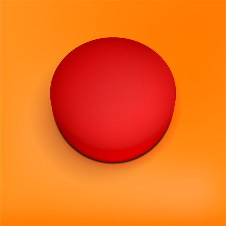 Blank red button with copy space for your text on orange background - vector illustration