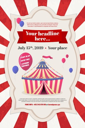 Abstract striped circus tent and flying balloons in retro frame and place for your text - party invitation template with sample text in separate layer. Vector illustration.