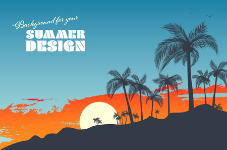 Background for your summer design with palm silhouettes, sunset and copy space for your text - vector illustration