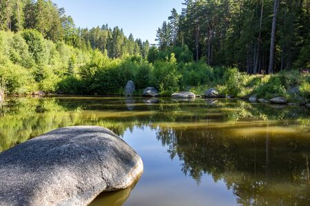 Summer forest with pond and stones under blue sky - Czech Republic, Europe