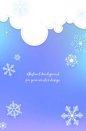 Abstract winter background with clouds, snowflakes and copy space for your text - vector illustration