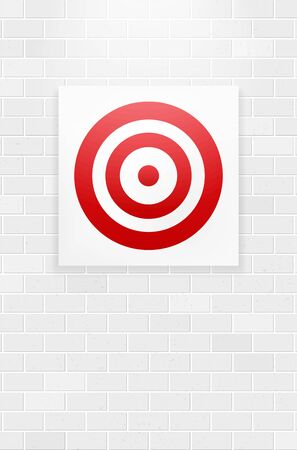 Red circle target hanging on brick wall - vector illustration