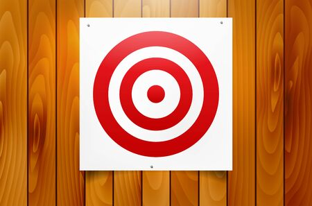 Red circle target hanging on wooden background - vector illustration