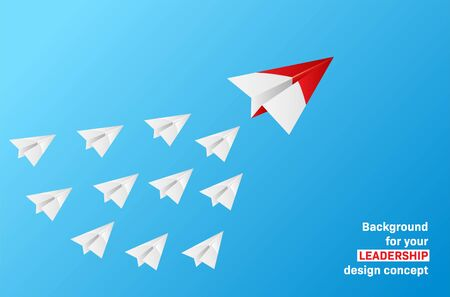 Leadership concept - group of paper planes with leader on blue sky. Vector illustration. Ilustrace