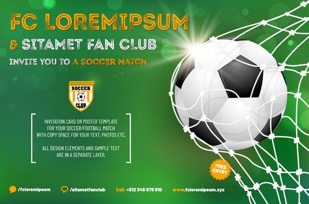 Soccer or football poster template with sample text in separate layer - vector illustration