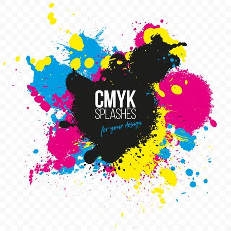 Abstract background from CMYK colors splashes for your design - print concept. Vector illustration.