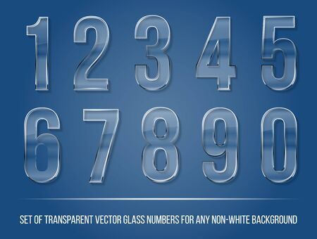 Set of transparent glass numbers with shadow for any non-white background - vector illustration Ilustracja